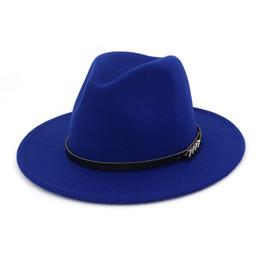 372ec5f994c Cheap Men Women Fedora Panama Wool Felt Hat Casual Wide Brim Jazz Hats  Trilby Belt Buckle Decorated Church Fascinator Hat