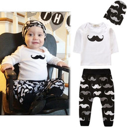 baby mustache clothes Canada - Autumn Infant Baby Boys Clothes Set Mustache Tops Tshirt + Pants + Hat 3pcs Kids Set Children Babies Outfits 14287
