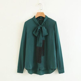 blouses necklines Australia - Spring new style of European and American style neckline with personality tassel fashion show thin blouse 8010805 YYFS
