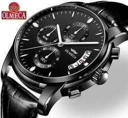 $enCountryForm.capitalKeyWord Australia - OLMECA Clock Military Relogio Masculino Waterproof Watches Fashion Chronograph Wrist Watch Watches for Men Classic Leather Watch