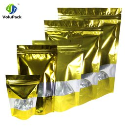 $enCountryForm.capitalKeyWord NZ - Pack of 100 Variety Sizes Shiny Gold With Clear Front Stand Up Ziplock Bags, Heat Sealable Zip Lock Bags For Coffee Bean