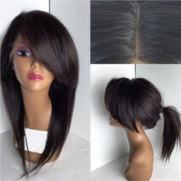 glueless lace wig side bangs NZ - 7A Glueless Lace Front Human Hair Wigs With Side Bangs Brazilian Virgin Hair Straight Full Lace Front Wig For Black Women