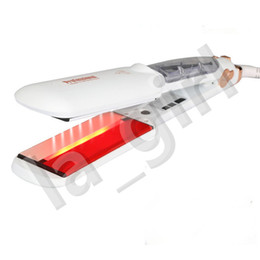hair dryer straightener sets NZ - First steam infrared styler hair straightener Tourmaline Ceramic Vapor 6 temperature setting 360 degree flexibly