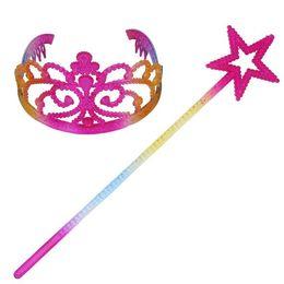 Magic children online shopping - 2pcs set Children Princess Hair Accessories Rainbow Crown Pentagram star Magic Stick Girls Halloween Cosplay Party Favor CCA10046 set