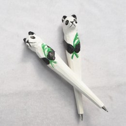 $enCountryForm.capitalKeyWord Australia - Creative Wood Carving forest panda holding Bamboo Ballpoint pen Party Favor Gift Office Stationery School Writing Supplies 18cm