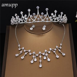 Discount bride tiara jewelry sets - amupp Sparkling Cubic Zirconia Wedding Jewelry Sets Clear CZ Tiara Necklace and Earrings Set Brides Bridal Costume Jewel
