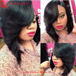 front hair cut indian style 2019 - Bob Short Brazilian Wig For Women Full Lace Wig Bob Style With Side Bang Short Hair Cut Front Lace Human Hair Wigs cheap
