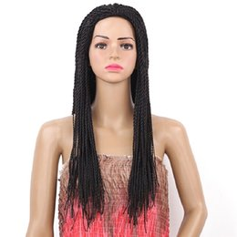 Chinese  2X Twist Braids Wig Nature Black Long Synthetic Hair Wigs for Women 22inch Glueless Heat Resistant Hair Women Wigs manufacturers