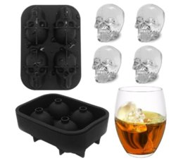 whiskey ice stones Canada - Eco-Friendly 3d Skull Silicone Ice Cube Tray Mold For Whiskey Cocktails Bpa -Free Skull Whisky Ice Stones Ice Mold Stocked