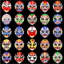 Chinese opera masks online shopping - Chinese Traditional Halloween Party Hand painted Peking Opera Full Face Plastic Flocking Mask Children Fast Face Changing Masks QW8225