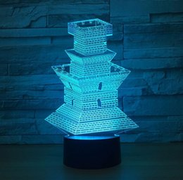 Usb Figures Australia - USB powered touch 3d Beacon Tower shaped night light LED 7 colors acrylic table lamp novelty bedside moon night light