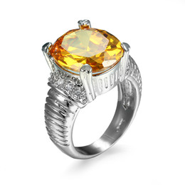 bridal set ring 2019 - R251 Best Selling 2018 Yellow Zircon Ring Fashion Jewelry Nickel Free Bridal Wedding Rings Women's Day Present For