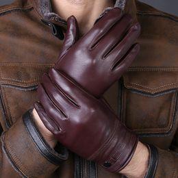 Men Gloves Leather Sheepskin Australia - 2017 New Arrival Designer Men's Gloves High Quality Real Genuine Leather sheepskin Mittens Warm Winter for Fashion Male Luvas S1025