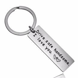 Discount love chains for couples - Drive Safe handsome I Love You Heart Keychain For Couples Boyfriend Girlfriend Gift Keyring Family Wife Husband Key Chai