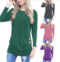 ec9933690eca Herbst Winter europäischen Frauen tragen langärmelige T-Shirt 3 botton  dekoriert Topwear Sweatshirt