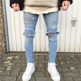 2ccfc922afd 2018 Men S Jeans Long Slim Destroyed Hole Stretchy Ripped Skinny Stripe Jeans  Hip Hop Low Waist Pencil Men Taped Fit Denim Pant