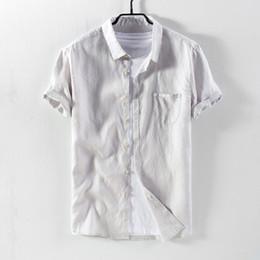 fe7eac8c28 Suehaiwe s brand short sleeve linen shirts men casual fashion gray shirt  mens flax comfortable shirt male camisa chemise
