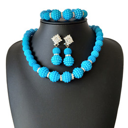 Pearl Bridal Jewellery Australia - Fashion Sky Blue Wedding jewelry African pearl necklace and earring Bracelet Bridal Gift of Nigerian African beads jewellery