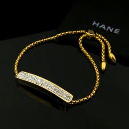 Gewölbtes Blech mit Volldiamanten Einkettenarmband 316L Titan Stahl Verstellbare Länge Gold-Armbänder für Damen und Herren