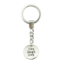 $enCountryForm.capitalKeyWord Australia - 6 Pieces Key Chain Women Key Car Keychains With Charms Live Laugh Love 20mm