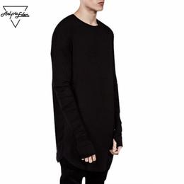 $enCountryForm.capitalKeyWord Canada - Wholesale Thumb Hole Long Full Sleeve Hipster Tee kpop for Men T-Shirt Solid Hip Hop Street T Shirt Black Hold Hand Mens Tshirts