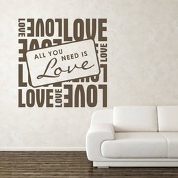 Bathroom Wall Sticker Quotes Australia - Perfect Quality Vinyl Wall Decals Quotes Square All You Need Is Love Wall Sticker Home Decor Living Room Sofa Background