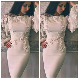 White Long Sleeve Short Satin Dress Australia - Little White Dress Bateau Neck Long Sleeve Knee Length Satin Applique Lace Bridesmaid Party Formal Pageant Maid Of Honor Dress Evening Gown
