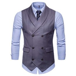 $enCountryForm.capitalKeyWord Australia - Double Breasted Cotton Wedding Suit Vest For Men 2018 Autumn New Sleeveless Vest Waistcoat Men Slim Fit Business Plus Size