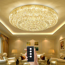 $enCountryForm.capitalKeyWord NZ - 3 brightness crystal lamp living room lamps ceiling lights S-Gold crystal ceiling lights LED bedroom restaurant lamp with remote control