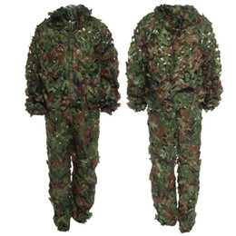 Hunting Camouflage Jacket Australia - Ghillie Suits Tactical Jacket suit Sets CS Savage 3D Camo Bionic Leaf Camouflage Jungle Sniper Woodland Birdwatching Hunting Clothing