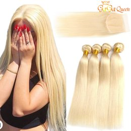 Wholesale Brazilian Virgin Hair Blonde Bundles with Closure Top Lace Closure With Silk Straight Hair Bundles