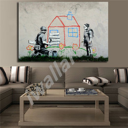 $enCountryForm.capitalKeyWord NZ - Banksy Graffiti Street Kid House Peace Posters HD Canvas Painting Oil Framed Wall Art Print Pictures For Living Room Home Decoracion