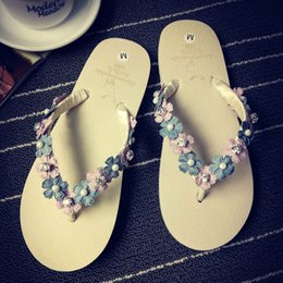 2856b18cf6d8de Summer Sweet Girls Slippers Camellia Flower Women Sandals Flat Flip Flops  Bohemian Gladiator Sandals Beach Slippers