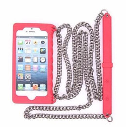 Chinese  For Iphone 7 Case Luxury C C Silicon Soft Lanyard Cases Cover for iPhone7 Plus 6 s 6s plus 6plus 5 5s SE with Metal Chain Brand Fashion manufacturers