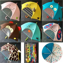 umbrella children cartoon NZ - 7 Colors children kids 3D cartoon umbrella long handle sun protection Children's gift