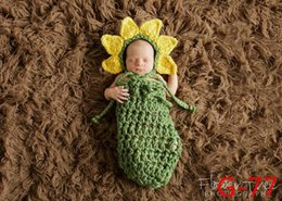 Knit Infant Hats Australia - Newborn Baby Photography Props Hat Clothing Set Infant Knit Crochet Costume Soft Outfits Baby Photo sleeping bag Wear Accessories 0-3M