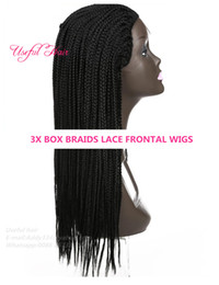 Micro Braided Wigs Australia - SYNTHETIC LACE FRONT WIG High Density Lace Front Wigs Box Synthetic braided wigs for black women Thick Full Hand Twist Micro Twist Wigs