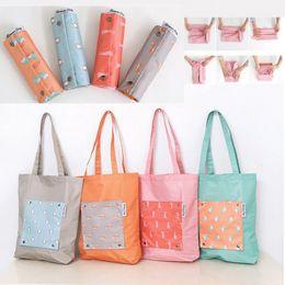 $enCountryForm.capitalKeyWord Australia - Portable Foldable Shoulder Bags Single Cartoon Shopping Bags Clothing Storage Organizer travel outdoor Bags 4 styles