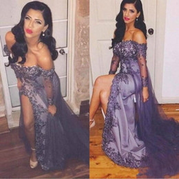 Long maternity baLL gowns online shopping - Sexy Lace High Split Evening Dresses Ball Applique Lace Off Shoulder Sheer Beads Long Party Prom Dresses Gowns Formal Robe De Soiree