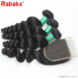 Discount 16 18 length weave - Rabake 8A Quality Brazilian Virgin Hair Bundles with Lace Closure Brazilian Loose Wave Human Hair Weave Extensions with