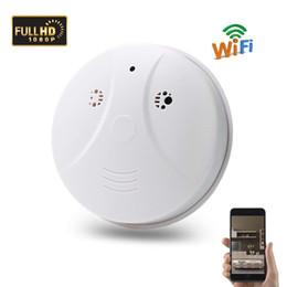Smoke Detectors Camera Wifi Australia - Wholesale 1080P WiFi Mini Camera IP Indoor Smoke detector wireless Cam Pet baby Monitor Nanny Cam with Motion Detection, Drop shipping