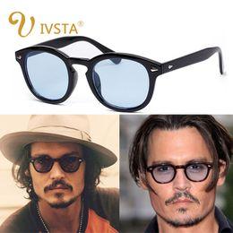 depp sunglasses 2019 - IVSTA New Fashion Johnny Depp Sunglasses Men Style Round Tint Ocean Lens Brand Design Party Show Sun Glasses Women Blue