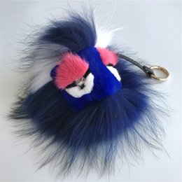"$enCountryForm.capitalKeyWord NZ - 8"" Real Genuine Fur Monster navy blue Bug bag Charm Ball Pom pom Keychain Keychain Backpack Tassels Pendant Handbag"