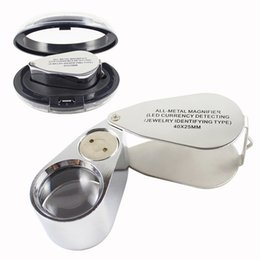 Wholesale 40X LED Jewelry Magnifier Folding Magnifying Glass Loupe with Box Jeweler Eye Loupe for Currency Coins Stamps Appraisal Tool HOT