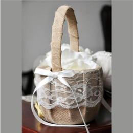 Discount rustic flower girl - Wedding Vintage Flower Basket Burlap Jute Rose Rustic Wedding Flower Girl Basket With Lace Satin Wedding Party Supplies