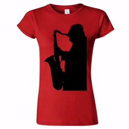 Chinese  LARGE SAX PLAYER SILHOUETTE WOMENS T SHIRT SAXOPHONE JAZZ MUSIC BLUES BAND GIFT manufacturers
