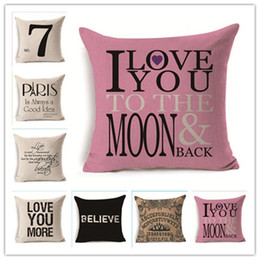 Simple pillow cover pattern online shopping - Square Printed Cushion Covers Simple Linen Decorative Throw Pillow Case English Letter Pattern Pillows Cases High Quality nt BB