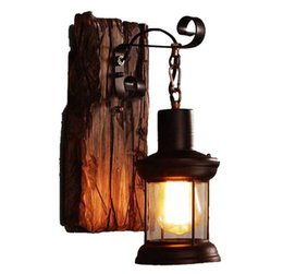 China Free freight American retro wooden wall lamp cafe bedroom nostalgic clothing store old lights LLFA cheap wooden wall lamps suppliers
