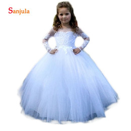 comunion girl dresses NZ - Long Sleeve White Tulle Flower Girls Dresses 2018 Scoop Ball Gown Girls Brithday Party Dresses Appliques vestidos comunion D106