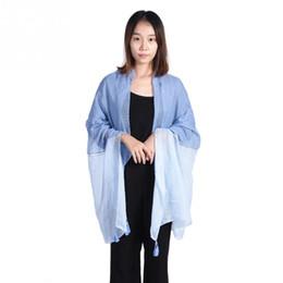 Big Tassel Scarves UK - Fashional Bicolor Joint Tassels Fringed Big Size Long Cotton Scarf Women Shawl